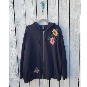Torrid Floral Embroidered Black Zip Up Jacket